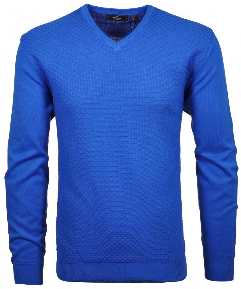 RAGMAN Strick-Pullover mit V-Neck und Struktur Blau-718 | XXL