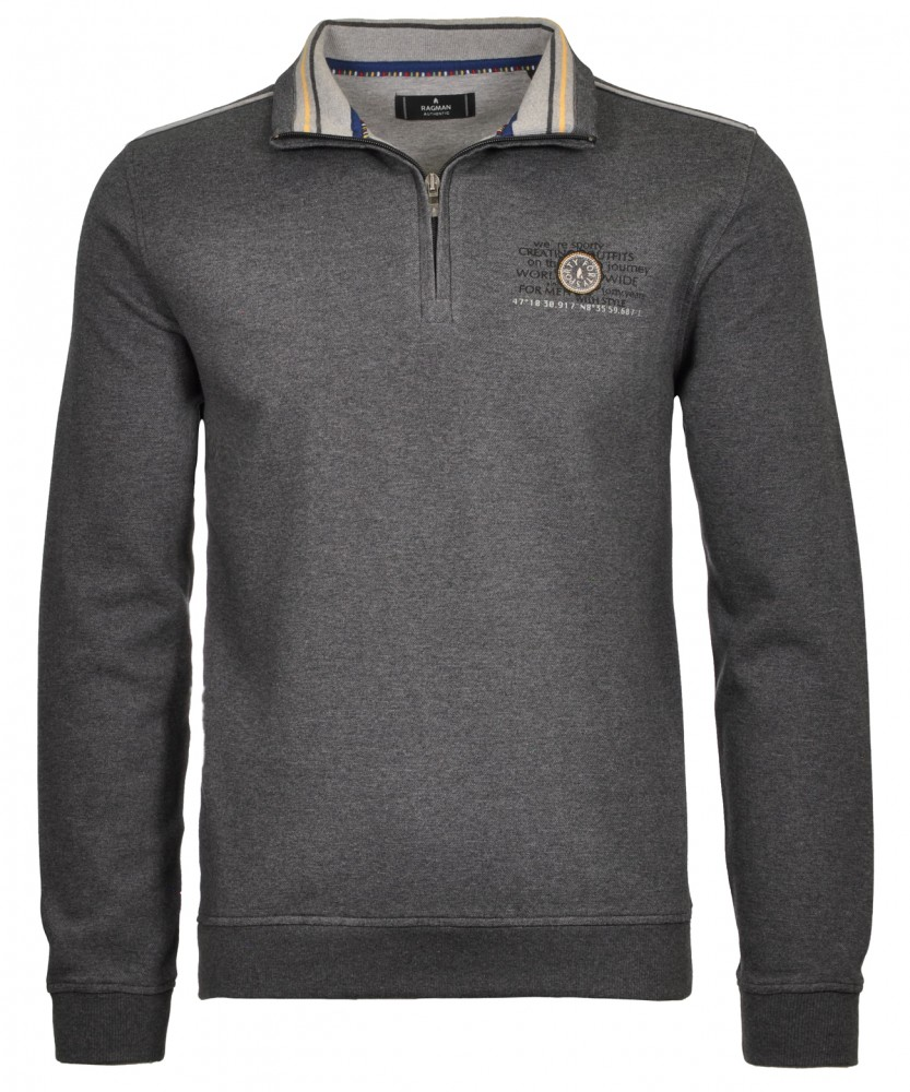 Sweatshirt mit Stehkragen Anthrazit-019 | S
