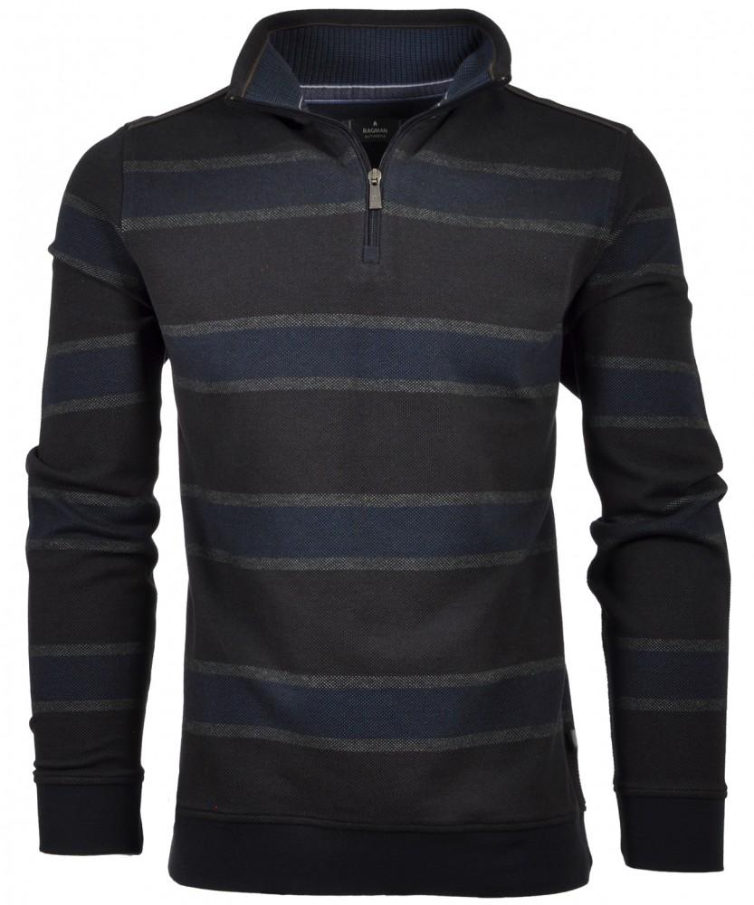 RAGMAN Sweatshirt with Troyer, striped Brown-080 | M