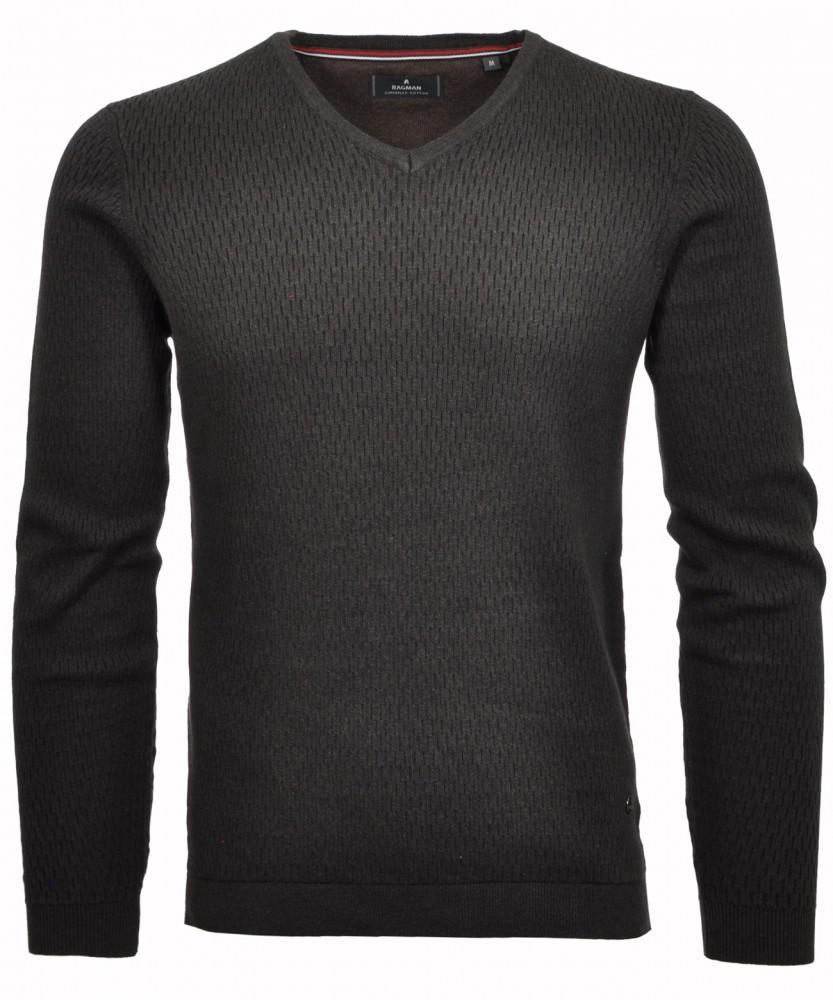 RAGMAN Pullover V-Neck mit Struktur Anthrazit-019 | L