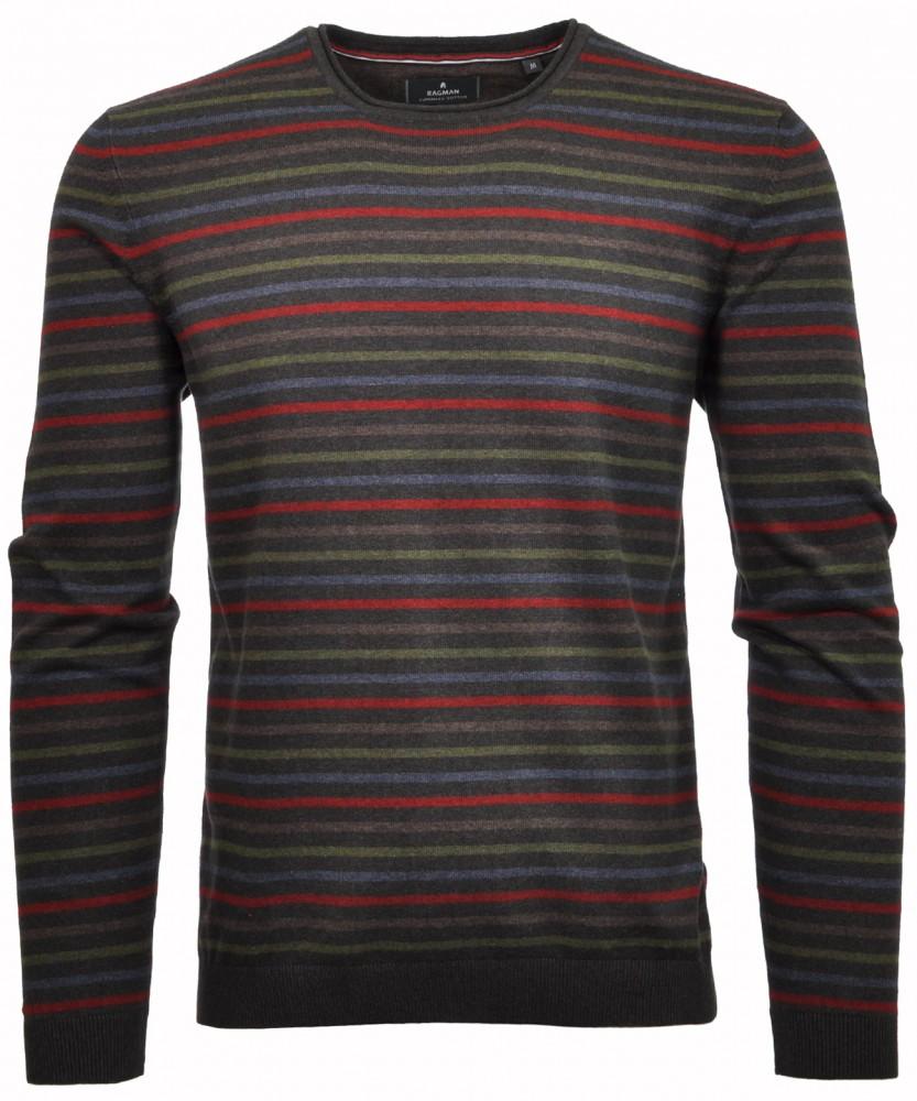 RAGMAN Streifen-Pullover Anthrazit-019 | S