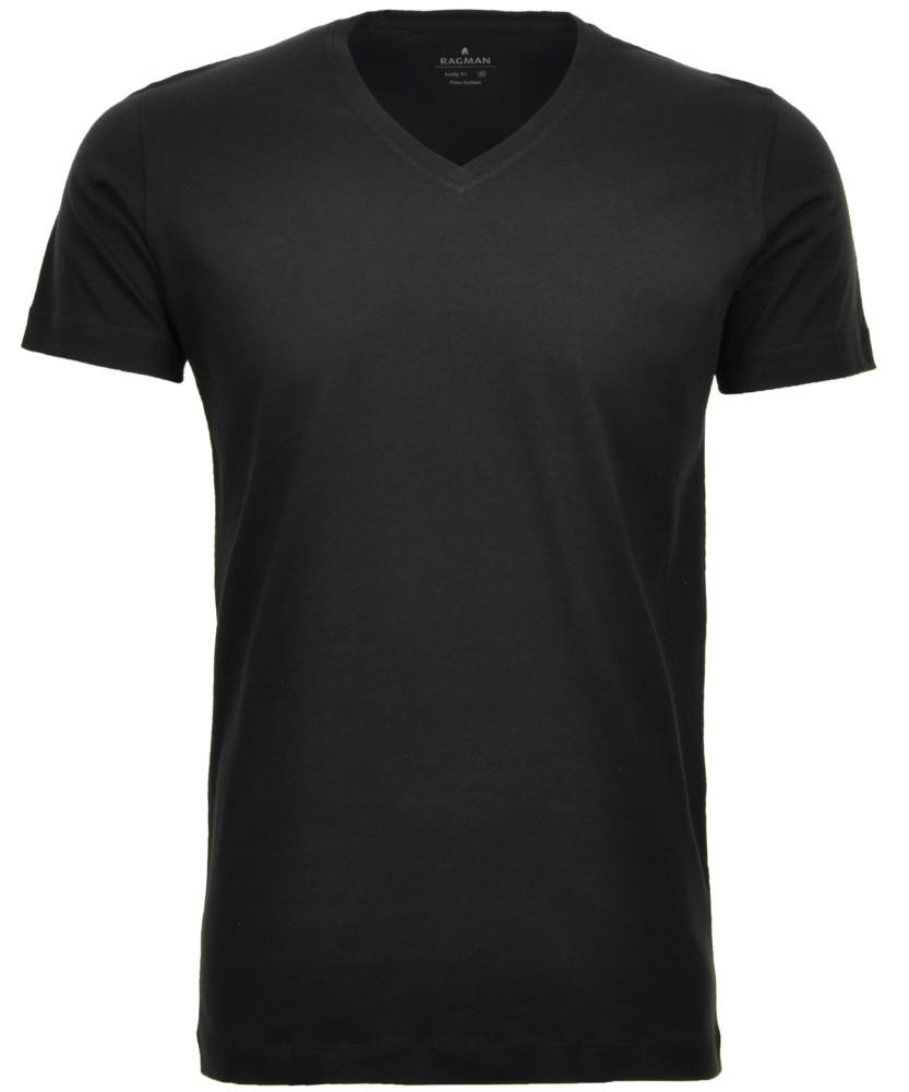2 T-Shirt Doppelpack Bodyfit mit V-Ausschnitt Schwarz-009   S