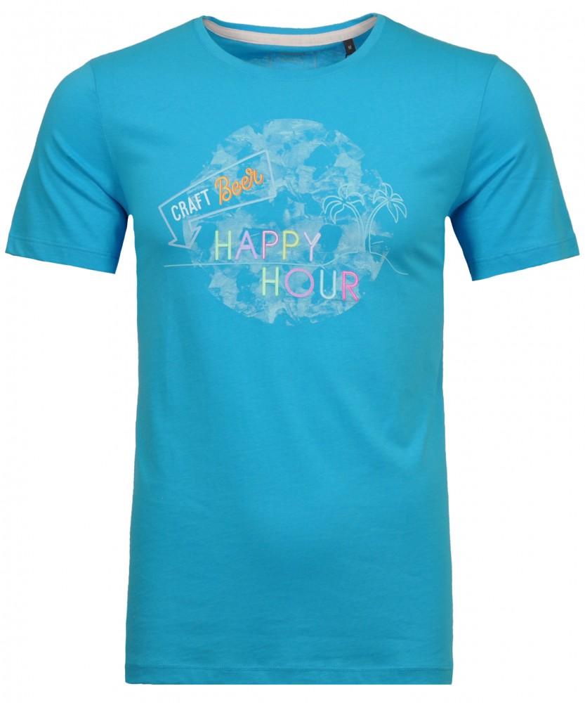 T-Shirt mit Rundhals Rauchblau-752 | M