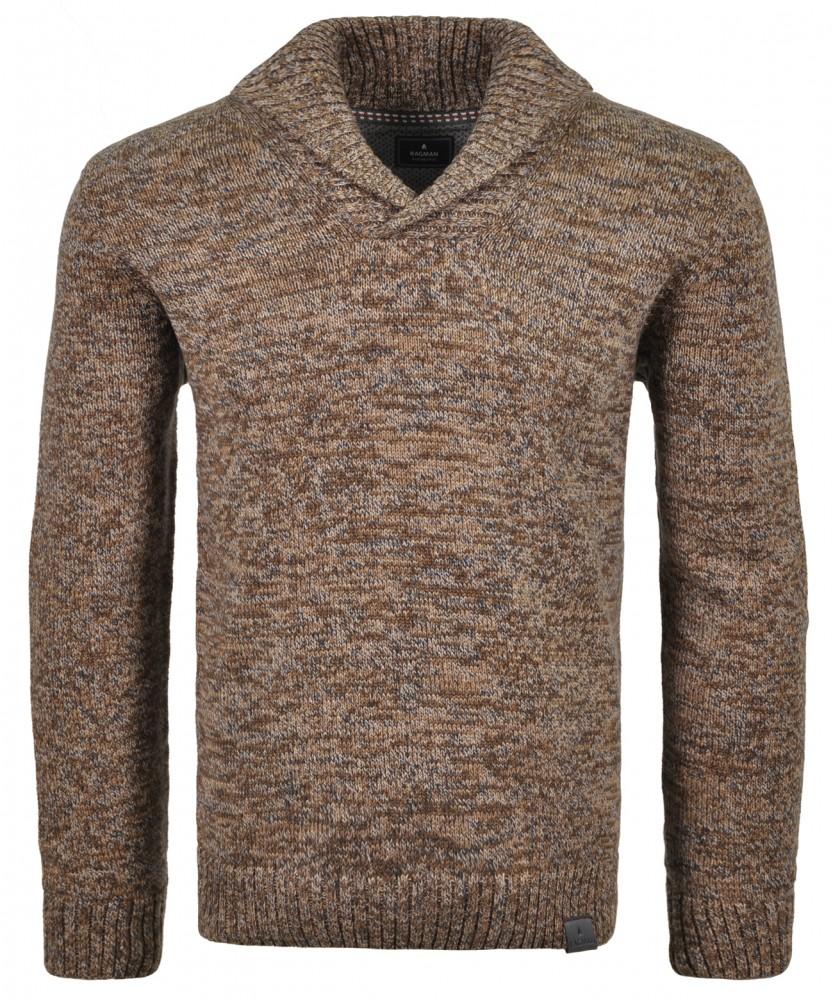 Schalkragen-Pullover Beige-braun-185 | XL