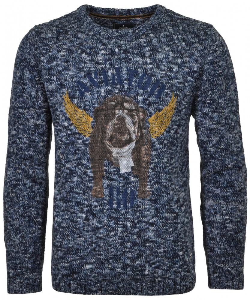 RAGMAN Strick-Pullover mit Print Blau gemustert-798 | S