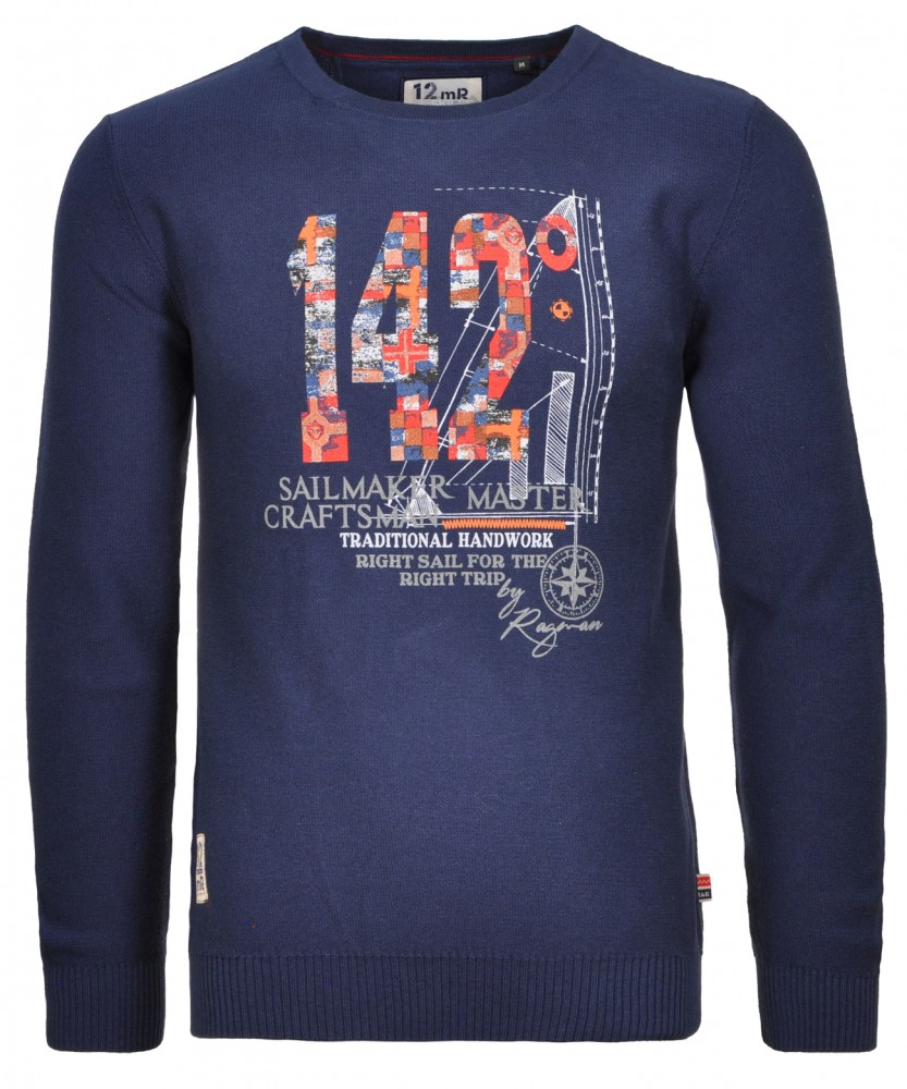 RAGMAN knitted Sweater with placed print, round neck Dark Blue-711 | S