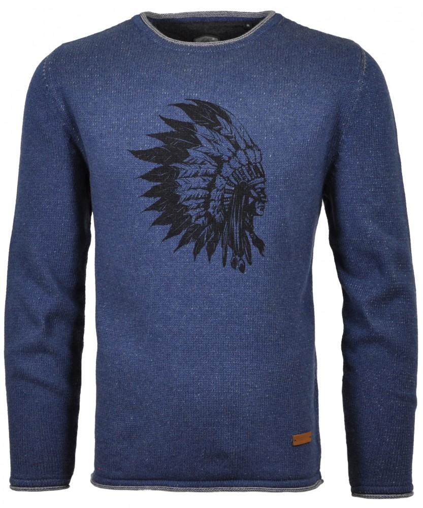 RAGMAN Strick-Pullover mit chief-Print Blau-Melange-782 | S