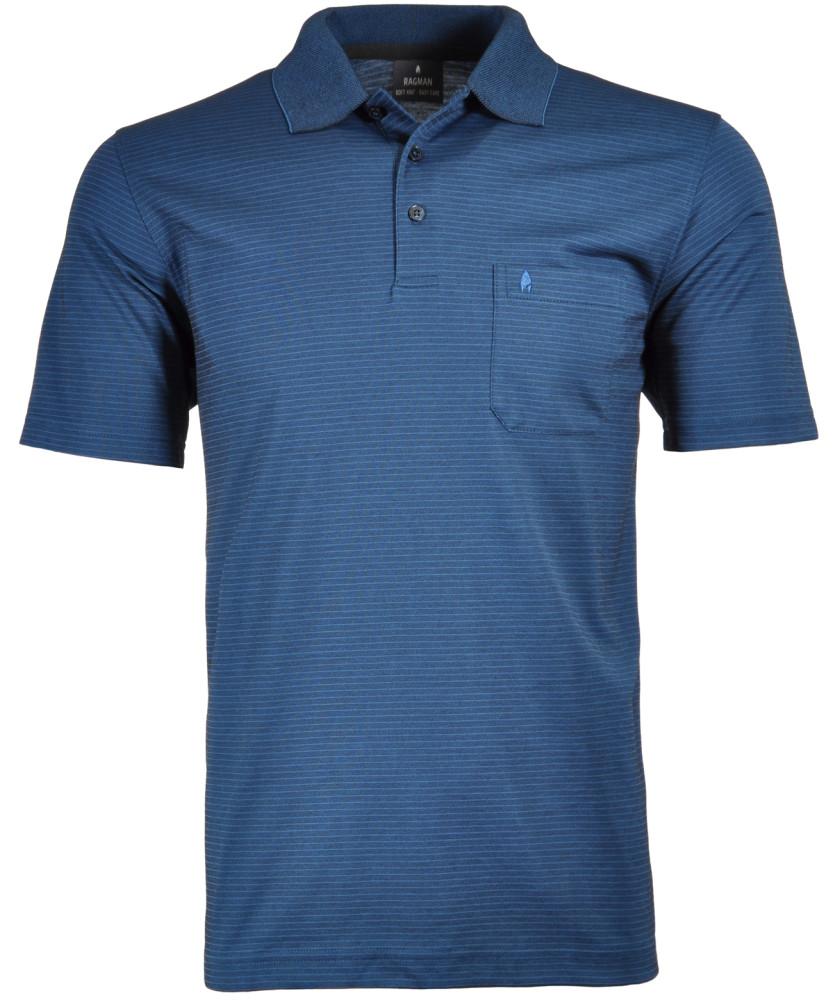 RAGMAN Softknit-Polo with fine stripes Dark blue-793 | S