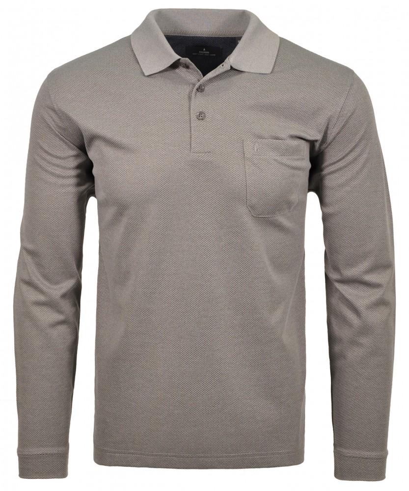 Poloshirt fein gemustert Silbergrau-023   L