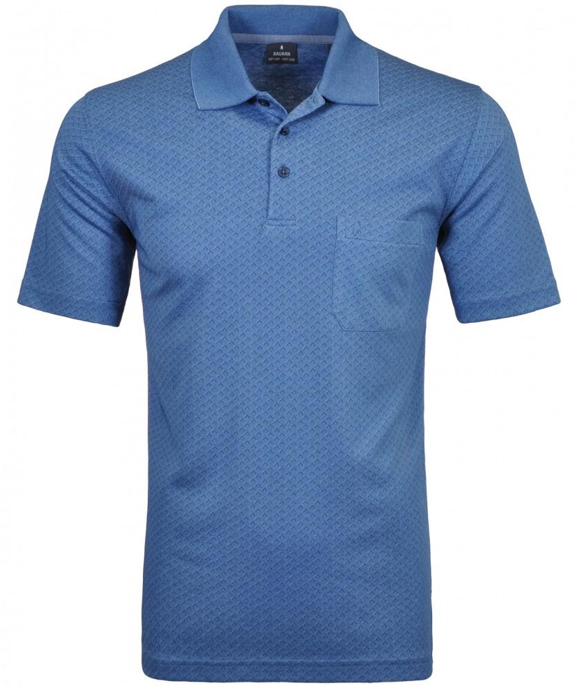 Softknit Poloshirt mit Minimal-Dessin Mittelblau-780 | S