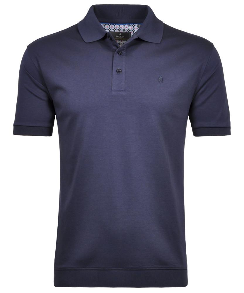 RAGMAN Piqué-Poloshirt gestreift Dunkelblau-711 | S