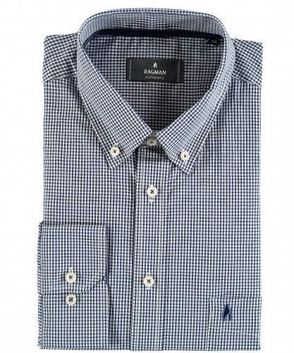 Vichy check shirt with button down collar