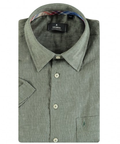 Uni Hemd, Leinen, kurzarm