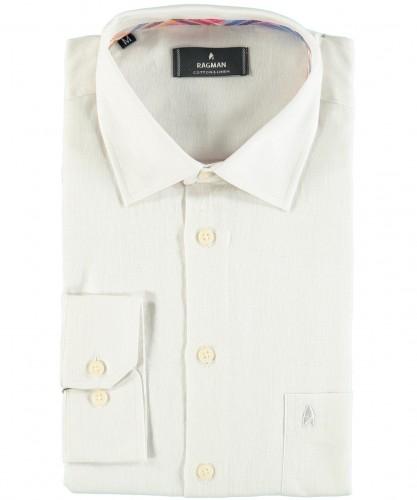 Uni-Hemd, Leinen mit Kent-Kragen