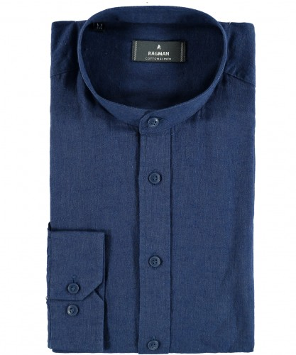 Shirt with stand up collar