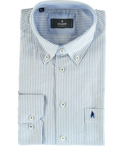 Shirt with stripes and button-down collar