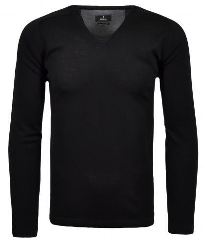 Pullover uni mit V-Ausschnitt Schwarz-009