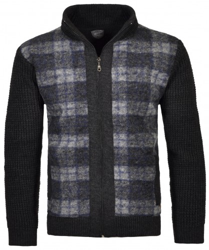 RAGMAN Jacket with check and stand up collar Anthracite-019