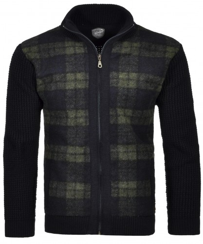 RAGMAN Jacket with check and stand up collar Navy-070