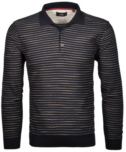 RAGMAN knitted Polo-Sweater striped