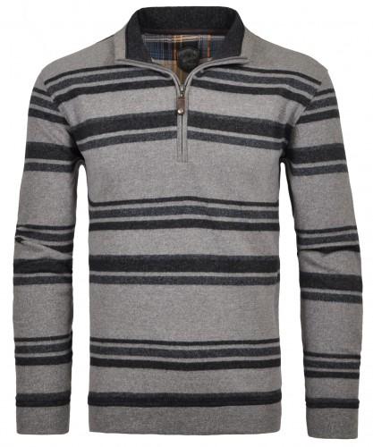 RAGMAN Streifen-Sweatshirt mit Stehkragen