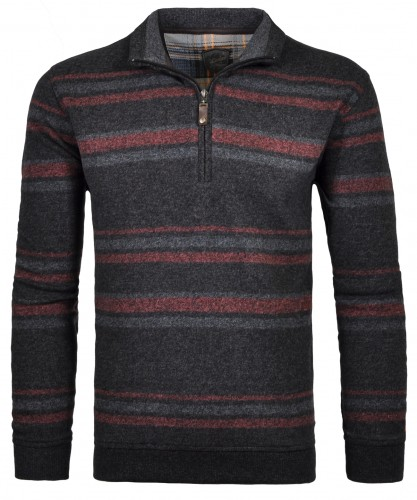 RAGMAN striped Sweater with stand up collar