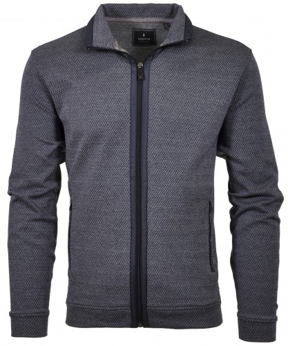 RAGMAN Sweat-Cardigan with stand up collar and zip