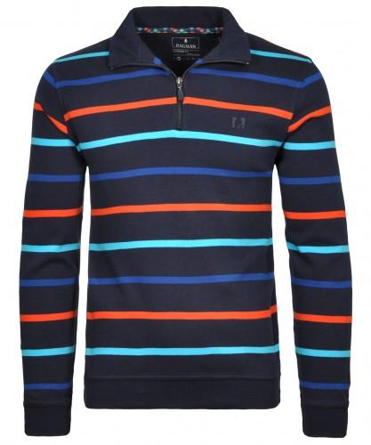 RAGMAN Sweater mit Stehkragen und Zip, gestreift