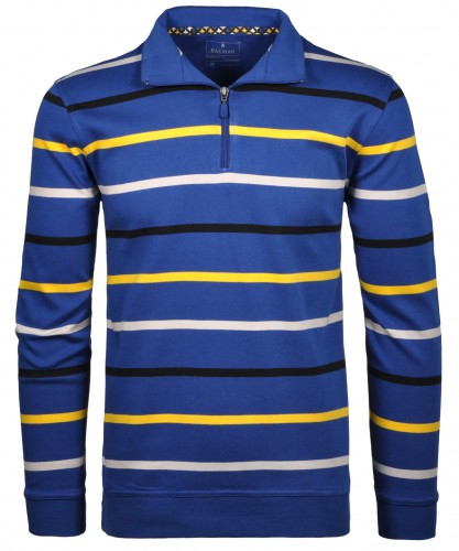 RAGMAN Sweater mit stand up collar, zip and stripes