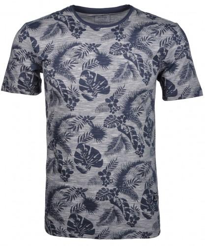 RAGMAN T-Shirt mit Druck und Flamm-Optik Dunkelblau-711