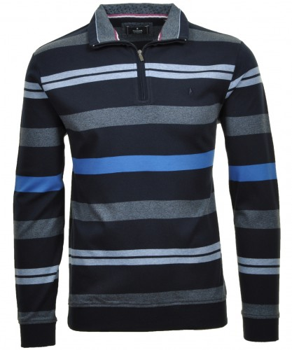 Sweatshirt Troyer, gestreift Marine