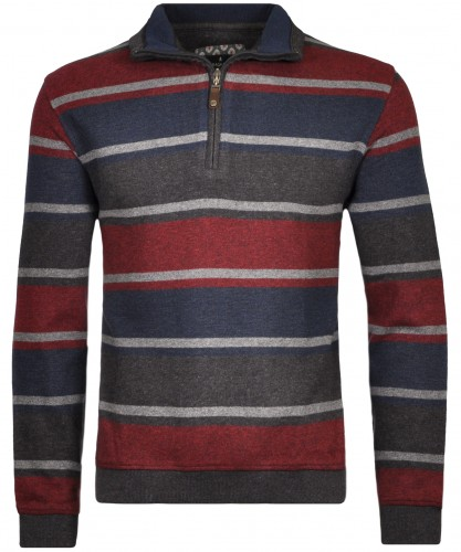 Sweatshirt with stripes and stand up collar