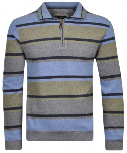 Streifen-Sweatshirt mit Stehkragen Blau