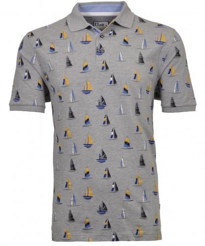 Poloshirt Segelschiff-Print