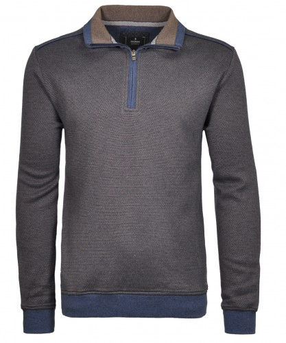 Sweater with stand up collar and zip