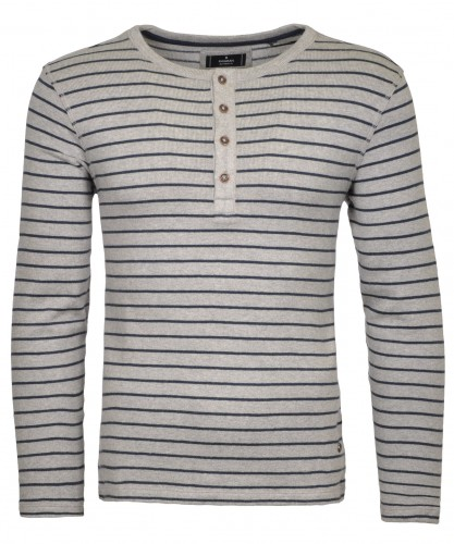 Knitted Sweater Henley with stripes