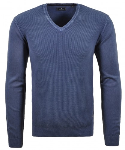 V-Ausschnitt Pullover mit Reiskorn-Optik