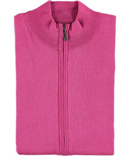RAGMAN knitted Cardigan with zip und stand up collar
