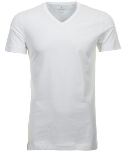 2 T-Shirt Doppelpack Bodyfit mit V-Ausschnitt Weiss-006