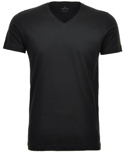 2 T-Shirt Doppelpack Bodyfit mit V-Ausschnitt Schwarz-009