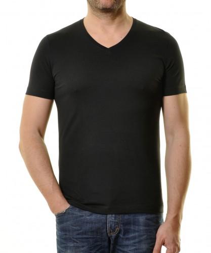 T-Shirt Bodyfit mit V-Ausschnitt Schwarz-009
