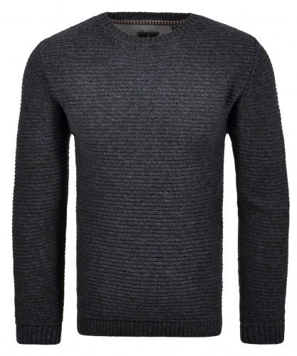 RAGMAN Strick-Pullover Rundhals Dunkelblau-grau