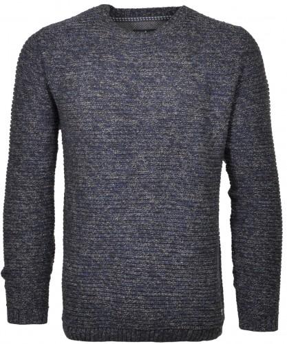 RAGMAN Strick-Pullover Rundhals Grau-Blau