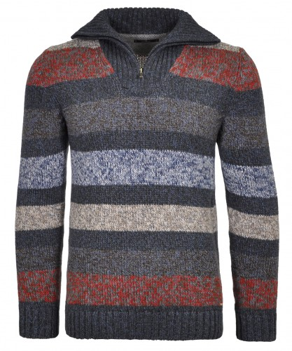 Troyer-Pullover Mouline, gestreift