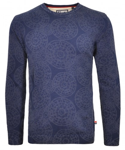 RAGMAN knitted Sweater with laser alloverprint, round neck