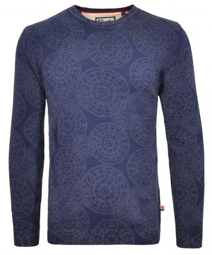 RAGMAN Strick-Pullover mit Laser-Alloverprint, Rundhals