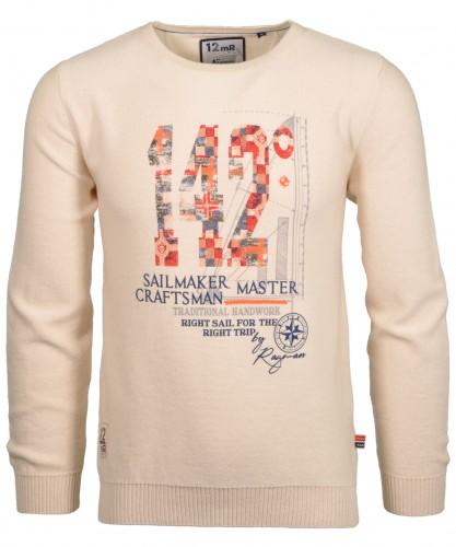 RAGMAN Strick-Pullover mit Print, Rundhals