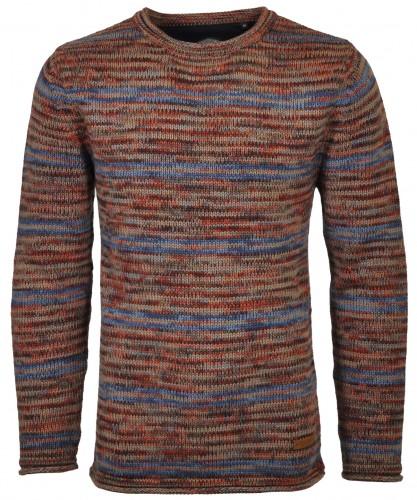 RAGMAN Streifen-Strickpullover Tweed Rot-ecru-grau-154
