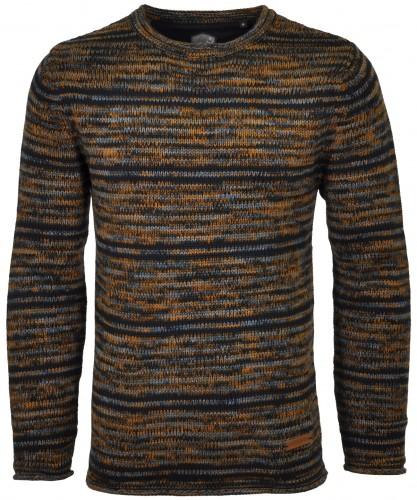 RAGMAN Streifen-Strickpullover Tweed Blau-Gelb-156