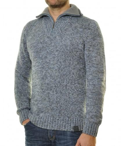 RAGMAN Pullover Troyer uni Tweed